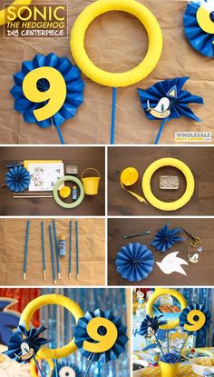 DIY Sonic the Hedgehog Centerpiece DIY Sonic the Hedgehog Centerpiece 2 Birthday, Sonic Birthday Parties, Sonic Party, Hedgehog Birthday, Birthday Ideas, Paper Fan Decorations, Birthday Party Decorations Diy, Party Themes, Party Ideas