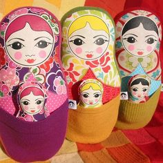 Recycled fabric russian dolls by Morgan Wills