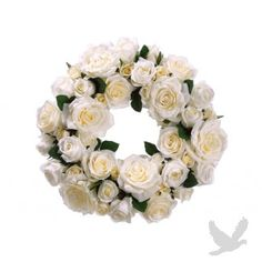 "16"" White Rose Wreath"