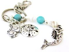 Beach Theme Keychain with Mermaid Charm - pinned by pin4etsy.com