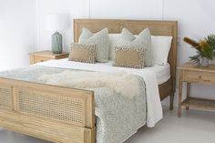 This Hamilton Cane bed is a refreshing summer remake of a traditional Louis XIV bed. Our natural finish is crafted of solid cedar wood, then combined with a natural open weave cane to create an elegant coastal feel which goes with almost anything. King Beds, Queen Beds, White Washed Oak, White Cedar, Superking Bed, King Size Mattress, Weathered Oak, Home Bedroom, Master Bedroom