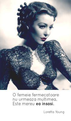 O femeie fermecatoare. Loretta Young, Motto, Love, Studio, Words, Womens Fashion, Quotes, Photography, Binder