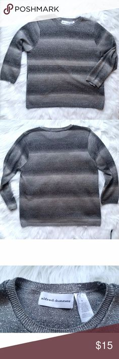 """Alfred Dunner Sweater Grey Alfred Dunner 3/4 sleeve sweater. The metallic shine gives this top just the right amount of fun. 80% Acrylic, 10% Metalic and 10% Nylon. Measures: Bust 19.5"""" -- Shoulders 14.5""""-- Length 23"""" -- Alfred Dunner Sweaters"""