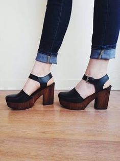 Image result for wood and leather heels
