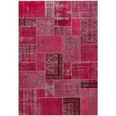 ABC Accent Vintage Patchwork Overdyed Red Wool Rug (7' x 10')