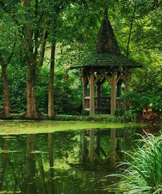 Celtic Garden Belvedere from www.pithandvigor.com. Love the peaceful setting and unique gazebo.
