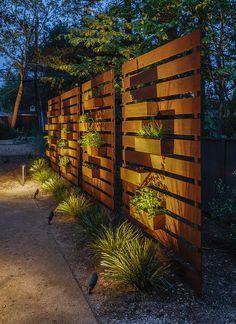 Lagom Residence - Midcentury - Landscape - San Francisco - by CB Architecture + Design Backyard Privacy, Backyard Fences, Fire Pit Backyard, Backyard Landscaping, Outdoor Privacy, Modern Landscape Design, Modern Landscaping, Fence Design, Garden Design