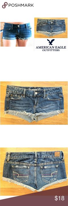 "Shortie American Eagle Outfitters jean shorts These cute American Eagle Outfitters jean shorts are perfect for the warm weather! Indigo cotton denim wash with spandex for stretch fit. Traditional 5 pocket style leather logo tag on back. Decorative fraying on cuffs, option to fold up hem fo versatile look. Size 4, 3"" inseam. Dress up or down with sneakers and tees, blouses and sandals... Possibilities are endless! In EXCELLENT condition NO DAMAGES. Grab yours for less and look great in…"