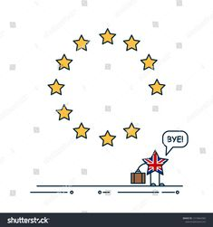Political illustration of potential UK withdrawal from the EU - Brexit.  Little Britain says bye 5dcb115f01870