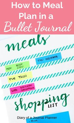 Find out how to use a bullet journal to plan out all your meals and your groceries list. Make clean eating simple and easy with this meal planning layout. Bullet Journal Contents, Bullet Journal Tracker, Bullet Journal Hacks, Bullet Journal Layout, Bullet Journal Inspiration, Bullet Journals, Art Journals, Planner Pages, Weekly Planner