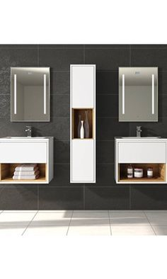 Hudson Reed Coast Wall Hung Vanity Unit and Basin - White Gloss Wall Hanging, Modern Vanity, Open Shelving, Modern Bathroom, White Gloss, Wall Mounted Vanity, Basin White, Wall Hung Vanity, Vanity Units