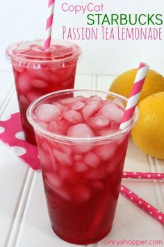 Copycat Starbucks Passion Tea Lemonade Recipe. PERFECT for upcoming spring and summer weather. Cure the winter blues. Plus save some $$'s making your favorites at home. LOVE this stuff!