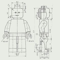 Lego Minifigure technical drawing | illustration