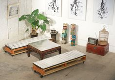 Pallet seating around coffee table.