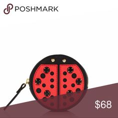 Kate Spade Ladybug Coin pouch NWOT New without tags. Has a few tiny knicks on back and nameplate has slight surface scratches. Measures approximately 3.5in diameter, 1in width. Zipper measures 5.75in. I do NOT trade or hold items. Reasonable offers will be considered. kate spade Bags