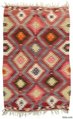 K0010732 Vintage Afyon Kilim Rug   Kilim Rugs, Overdyed Vintage Rugs, Hand-made Turkish Rugs, Patchwork Carpets by Kilim.com