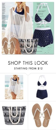 """High Waisted Halter Sailor Bikini"" by azra-v ❤ liked on Polyvore featuring M&Co, bikini and rosegal"