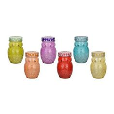 Colored Owl Glass Jars, Set of 6