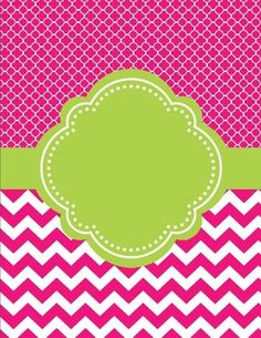 Moroccan and Chevron Binder Cover ~ Two Versions both Lime Green and PinkI love cute binder covers. Chevron Binder Covers, Cute Binder Covers, Binder Cover Templates, Scrapbook Background, Scrapbook Paper, Scrapbook Frames, Scrapbooking, Silver Sharpie, Borders And Frames
