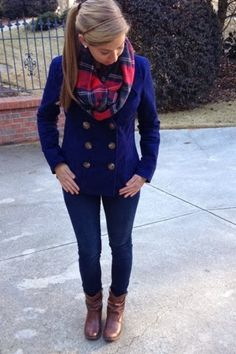 Love the cute navy peacoat and flannel scarf combo! Fashionable and functional