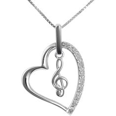 Jewel Exclusive Sterling Silver  Diamond Heart w/ Treble Clef Pendant ($25) ❤ liked on Polyvore featuring jewelry, necklaces, multi, heart pendant, heart shaped pendant, sparkle jewelry, diamond pendant and diamond jewelry