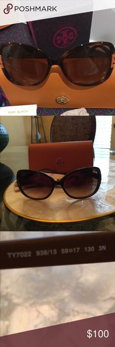 Almost New Tory Burch Sunglasses - 7022 Worn for less than a month. Now flaws or scratches on glasses. Case may be less than perfect. Purchased from toryburch.com. Receipt available upon request.  The arm color and the T Logo hinges are a lighter brown than frames.  These sunglasses are also prescription friendly if you would like to change the lenses.   Authentic from toryburch.com Type: Sunglasses Style: Cat Eye Model: TY 7022 Retail Price: $195+s/h This best-selling butterfly frame…