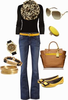Fashion Is Your Inspiration: Casual Outfits | Black, Brown  Yellow find more women fashion on misspool.com