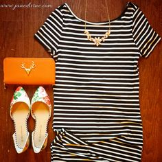 Outfit of the Day, Spring Fashion, Spring Outfit, Stripes, Business Casual, Downtown Stroll Dress, Petal Perfect Necklace, Floral D'Orsay Flats, Trophy Wife Clutch in Tangerine, by Jane Divine Boutique www.janedivine.com