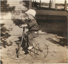 Sweet ANTIQUE PHOTO of a Toddler Riding his by vintagewarehouse, $3.50