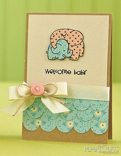 Scalloped Welcome Baby Card by @Ashley Harris
