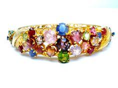Gemstone Bangle Gold Plated Bracelet by TheJewelryLadysStore