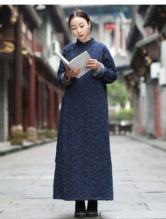 ee998729e126 Aliexpress.com : Buy LZJN Long Sleeve Fleece Winter Dress 2018 Women Faux  Fur Clothes Chinese Style Vintage Maxi Robe Warm Jacquard Gown Side Slit  from ...