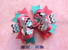 Pink and Teal Chevron Boutique Stacked Hair Bow by OhSoLovelyBows, $6.00