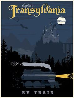 Steve Thomas [Illustration]: Transylvania by Train vintage travel poster - just in time for Halloween