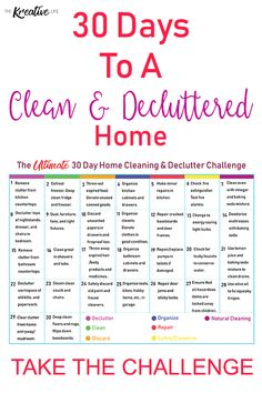 Take this cleaning and decluttering home challenge to get your home organized. - The Kreative Life Take this cleaning and decluttering home challenge to get your home organized. - The Kreative Life Declutter Home, Declutter Your Life, Declutter Bedroom, Tips And Tricks, Organizing Hacks, Home Organization, Konmari, Deep Cleaning Tips, Cleaning Hacks