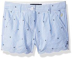 Nautica Toddler Girls Seersucker Sailboat Print Short Sail White 4T >>> More info could be found at the image url.Note:It is affiliate link to Amazon.