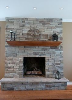 Transforming a Brick Fireplace to Stone - Houzz