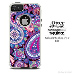 The Purple Paisley Pattern Skin For The iPhone 4-4s or 5-5s Otterbox Commuter Case on Etsy, $9.99