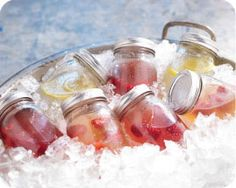 Pre-made drinks in mason jars= a great idea for summer entertaining or a cocktail hour at a wedding, BBQ or other function.
