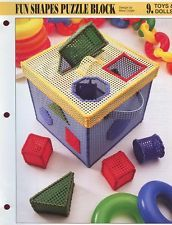 Children Fun Shapes Puzzle Block Annie's Plastic Canvas Pattern NEW