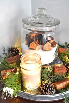Create a charming Christmas vignette with vintage toy buildings in a glass jar. Easy how to. Succulent Outdoor, Fabric Christmas Trees, Fabric Tree, Christmas Stencils, Toy House, Funky Junk Interiors, Old Lights, Bottle Brush Trees, Christmas Vignette