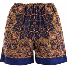 Carven Paisley-print shorts ($153) ❤ liked on Polyvore featuring shorts, bottoms, short, pants, hot pants, hot short shorts, paisley shorts, elastic waist shorts and mini short shorts