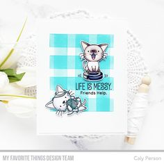 My Favorite Things – 5 Days Until the New Release – Woof Pack and Cat-astrophe – Caly Person Parchment Craft, Yarn Ball, Mft Stamps, Cat Cards, Paper Cards, Digital Stamps, Clear Stamps, Kittens Cutest, Your Cards
