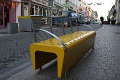 t3 by omos. The streets of Ireland come alive with color and texture with the t3 bench by omos. The brightly colored furniture helps bring a splash of life to a gray area and entice folks to visit the street and stay for a while.