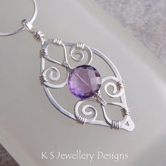 Purple Leaf - Amethyst Spiral Loop Leaf Frame Sterling Silver Pendant (KS30) by KSJewelleryDesigns, via Flickr