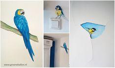 vogeltjes | papegaai | koolmees | pimpelmees| muurschildering | huiskamer | kinderkamer | babykamer | www.groeneballon.nl | Den Haag