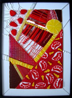 Fused glass, beautiful mosaic like themed pieces by the incredible Linda Billet. This piece just shy off 2k is called Freckled Lemonade (16 x 23) *******