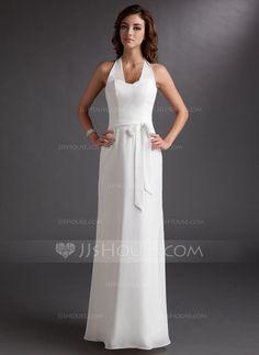 Bridesmaid Dresses - $116.99 - Sheath Halter Floor-Length Chiffon Bridesmaid Dress (007001821) http://jjshouse.com/Sheath-Halter-Floor-Length-Chiffon-Bridesmaid-Dress-007001821-g1821