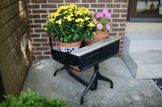 old school desk turned flower planter