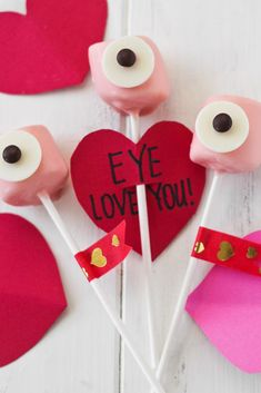 Eye Love You Marshmallow Pops for a Valentine's Day craft